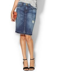 Current/Elliott Distressed Denim Pencil Skirt - Lyst