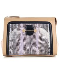 Jason Wu Daphne Snakeskin And Leather Clutch - Lyst
