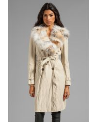 Gryphon - Fox Plate Collar Winter Trench in Tan - Lyst