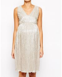 Asos Maternity Pleated Midi Dress With V Neck In Metallic - Lyst