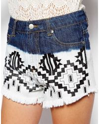 Mink Pink Printed Denim Cut Off Shorts - Lyst