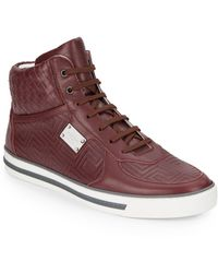 Versace Quilted & Woven Leather Sneakers - Lyst