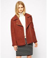 Ganni - Collared Wool Mix Biker Jacket - Lyst