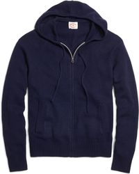 Brooks Brothers Full-Zip Hooded Sweater blue - Lyst