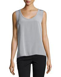 J. Mendel Sleeveless Scoop-Neck Silk Top gray - Lyst