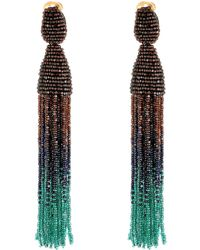 Oscar de la Renta Long Ombre Bead Tassel Clip-On Earrings - Lyst
