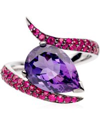 Shaun Leane - White Gold Ring with Pear Shaped Amethyst and Rubies - Lyst