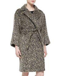 Max Mara Leopard-Print Blanket Coat - Lyst
