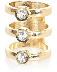 River Island Gold Tone Triple Row Diamante Ring - Lyst