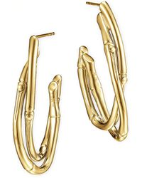John Hardy 18k Gold Interlocking Bamboo Hoop Earrings - Lyst