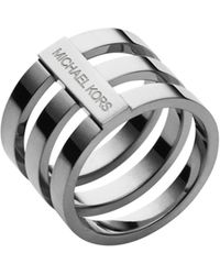 Michael Kors Silver-tone Tri-stack Ring - Lyst