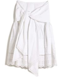 Suno Embroidered Tie Front Skirt white - Lyst