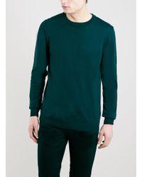 Topman Green 100 Merino Crew Neck Sweater - Lyst