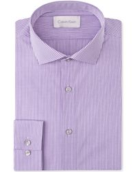 Calvin Klein  Slim Fit Violet Minicheck Dress Shirt - Lyst