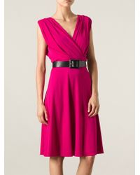 Gucci Pink Vneck Dress - Lyst