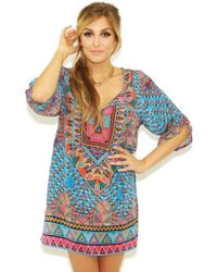 Tolani Stacy Tunic In Turquoise multicolor - Lyst