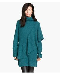 H&M Poloneck Flounced Jumper - Lyst