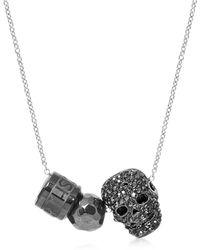 Northskull - Gunmetal Black Skull W/hematite Ball & Logo Wheel Slim Curb Men's Necklace - Lyst