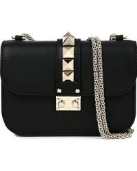 Valentino Rockstud Lock Leather Clutch Bag - For Women - Lyst