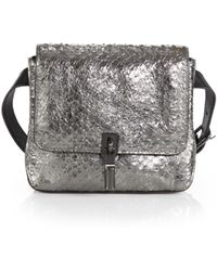 Elizabeth And James Cynnie Metallic Snake-Embossed Belt Bag - Lyst