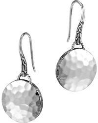 John Hardy Palu Silver Round Drop Earrings - Lyst