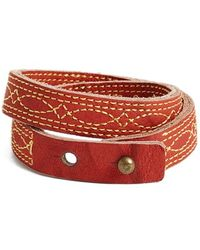Frye - 'campus Stitch' Leather Wrap Bracelet - Burnt Red - Lyst