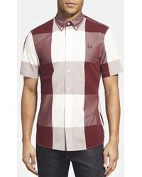 Fred Perry Magnified Gingham Short Sleeve Sport Shirt - Lyst