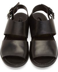 Marsell Black Leather Buckled Strap Sandals - Lyst