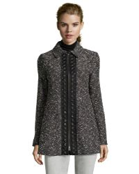 Nanette Lepore Black And Ivory Marled Wool Blend 'Aristocrat' Coat - Lyst
