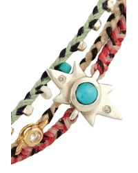 Scosha - Set Of Three Woven, Diamond And Turquoise Bracelets - Lyst