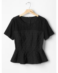 Gap Eyelet Embroidered Peplum Top - Lyst