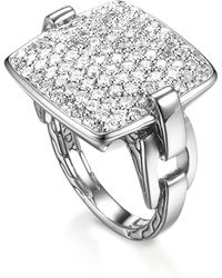 John Hardy Classic Chain Cushion Ring Diamond - Lyst