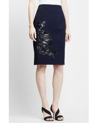 Christopher Kane Floral Applique Wool Pencil Skirt - Lyst
