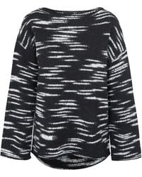 ATM Black And White Striped Wool-Blend Poncho - Lyst