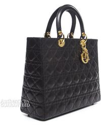 Dior Pre-owned Black Lambskin Large Lady Dior Bag - Lyst