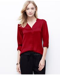 Ann Taylor Red Crepe Blouse - Lyst