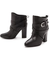 Belle By Sigerson Morrison Floria Round Toe Booties  Black - Lyst