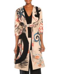 Donna Karan New York Hand-Painted Leather Jacket With Belt - Lyst