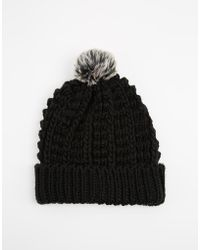 Brave Soul Cable Knit Beanie Hat with Pom Pom - Lyst