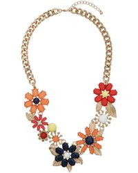 Topshop Large Dark Stone Flower Collar Multi - Lyst