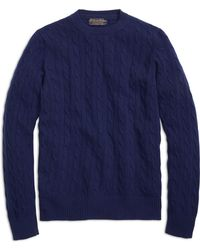 Brooks Brothers Cashmere Cable Crewneck Sweater - Lyst