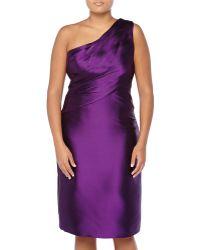 Monique Lhuillier One-Shoulder Ruched Satin Dress - Lyst