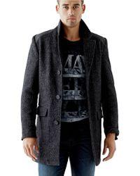 Guess Wool-blend Herringbone Coat - Lyst