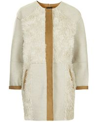 Topshop Faux Fur Patchwork Jacket - Lyst