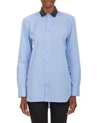 Each x Other Leather Collar  Finestripe Shirt - Lyst