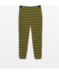 Zara Loose Fit Trousers with Geometric Print - Lyst