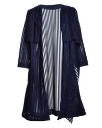Paper London Navy Emperador Mesh Stripe Coat By - Lyst