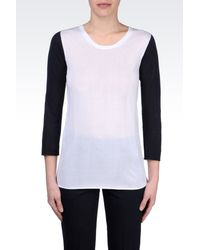 Armani Two Tone Cotton and Viscose Sweater - Lyst