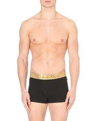 Calvin Klein Microfibre Gold Waist Trunks - Lyst
