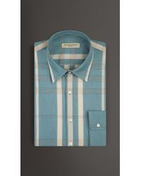 Burberry Modern Fit Check Cotton Silk Shirt green - Lyst